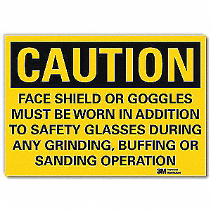 Safety Sign,Face Shields Goggles,14in.W