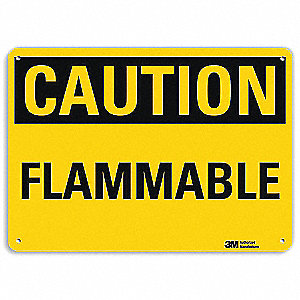 "Chemical, Gas or Hazardous Materials, Caution, Recycled Aluminum, 10"" x 14"", With Mounting Holes"