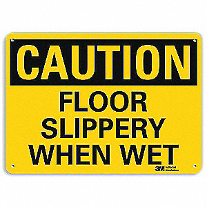Safety Sign,Floor Slppery When Wet,10inH