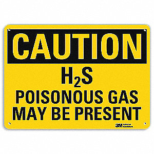 Safety Sign,Poisonous Gas Present,7in.H