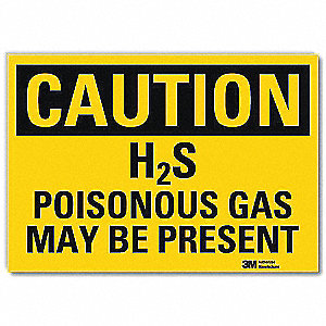 Safety Sign,Poisonous Gas Present,14in.W