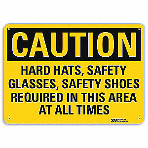 Safety Sign,Hard Hats, Sfety Shoes,10inH
