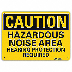 "Personal Protection, Caution, Recycled Aluminum, 10"" x 14"", With Mounting Holes, Engineer"