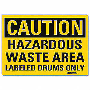 "Chemical, Gas or Hazardous Materials, Caution, Vinyl, 5"" x 7"", With Mounting Holes, Engineer"