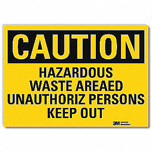 Safety Sign,Hazardous Wste Keep Out,5inH