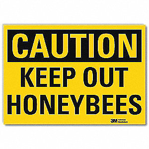 "Keep Clear, Caution, Vinyl, 10"" x 14"", Adhesive Surface, Engineer"