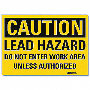 "Chemical, Gas or Hazardous Materials, Caution, Vinyl, 5"" x 7"", Adhesive Surface, Engineer"
