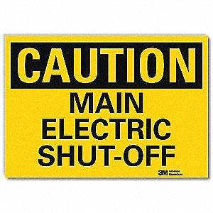"Electrical Hazard, Caution, Vinyl, 5"" x 7"", Adhesive Surface, Engineer"