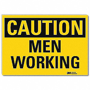 "Person Working, Caution, Vinyl, 5"" x 7"", Adhesive Surface, Engineer"