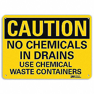 Caution Sign,  No Chemicals In Drains Use Chemical Waste Containers,  Header Caution,  Rectangle