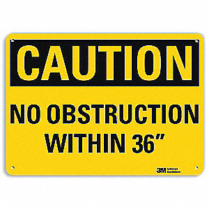 Safety Sign,No Obstruction,10inH x 14inW