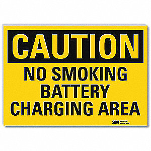 "No Smoking, Caution, Vinyl, 5"" x 7"", Adhesive Surface, Engineer"