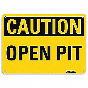 Safety Sign,Open Pit,Black/Yellow,7 in H