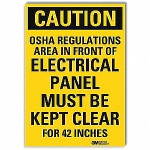 "Electrical Hazard, Caution, Vinyl, 14"" x 10"", Adhesive Surface, Engineer"