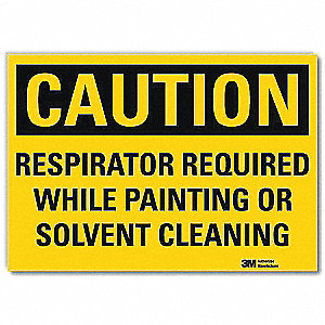 "Personal Protection, Caution, Vinyl, 7"" x 10"", Adhesive Surface, Engineer"