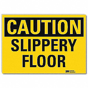 Safety Sign,Slippery Floor,Caution,5in H