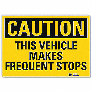 "Road Traffic Control, Caution, Vinyl, 5"" x 7"", Adhesive Surface, Engineer"