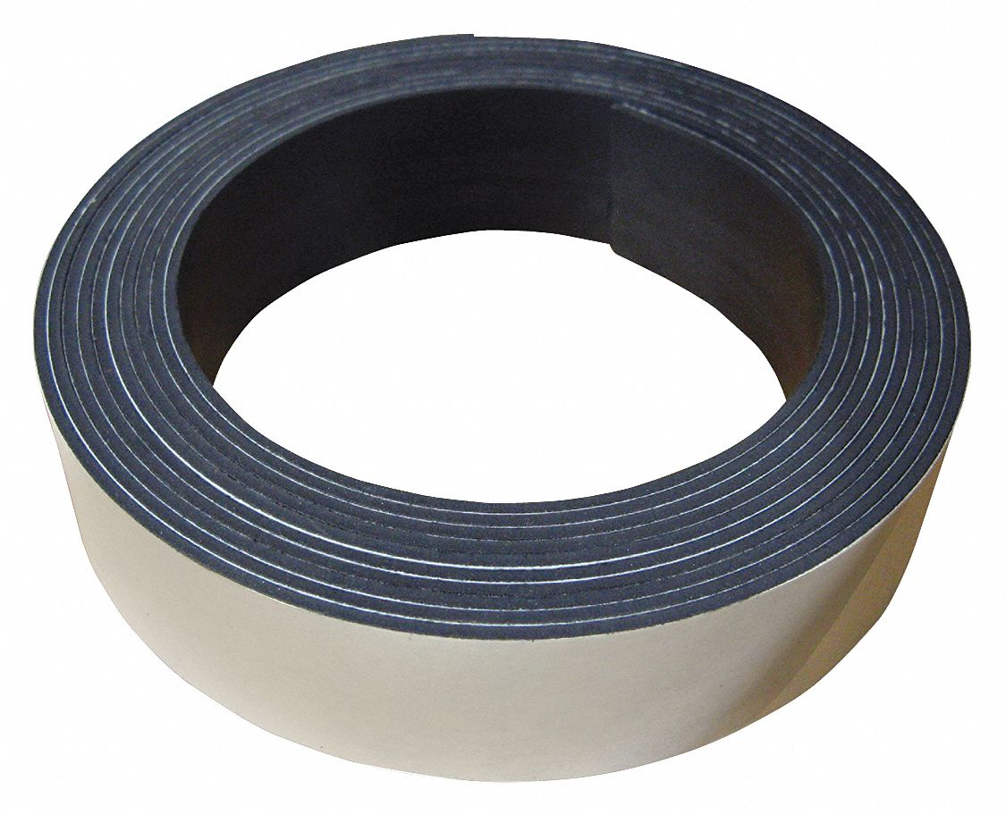 Flexible Magnetic Rolls,  Indoor Adhesive,  11.8 lb Max. Pull,  10 ft Length,  1 in Width