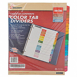 Binder Divider,Preprinted,Multicolor