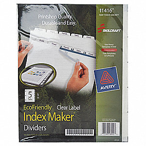 "Binder Divider with 5 Print-On Labels, White Blank, 8-1/2"" x 11"""