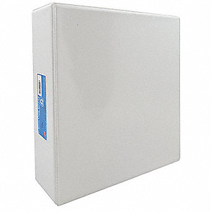 Three Ring Binder,D-Ring,White,4 in.