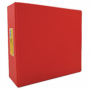 "Red 3-Ring Binder, 3"" Round, Vinyl Covered Chipboard"