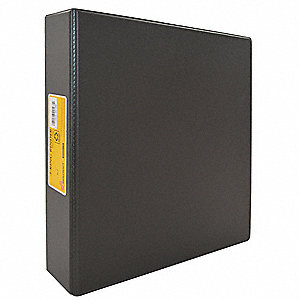 "Black 2"" 3-Ring Binder, 8-1/2"" x 11"" Sheet Size, Vinyl Covered Chipboard, 375 Sheet Capacity - Binde"