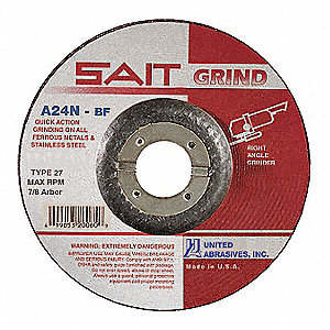 "4-1/2"" Type 27 Aluminum Oxide Depressed Center Wheels, 7/8"" Arbor, 3/16""-Thick, 13,300 Max. RPM"
