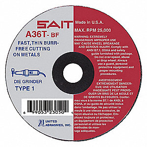 "2"" Type 1 Aluminum Oxide Abrasive Cut-Off Wheel, 1/4"" Arbor, 0.035""-Thick, 30,558 Max. RPM"