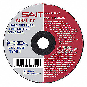 "7"" Abrasive Cut-Off Wheel, 1/16"" Thickness, 1-1/4"" Arbor Hole"