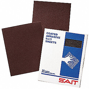 "Very Fine Aluminum Oxide Cloth Sheet, 180 Grit, 11"" L X 9"" W, Backing Weight : F, 1 EA"