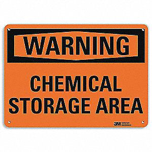"Chemical, Gas or Hazardous Materials, Warning, Recycled Aluminum, 7"" x 10"", With Mounting Holes"