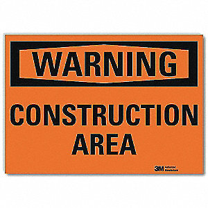 Warning Sign,Construction Area,10 in. W