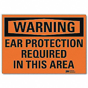 Warning Sign,Ear Protction Rquired,10inW