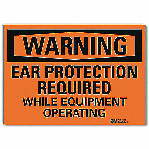 "Personal Protection, Warning, Vinyl, 7"" x 10"", Adhesive Surface, Engineer"