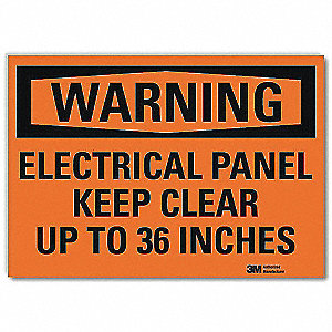 Warning Sign,Electrical Panel,5 in. H
