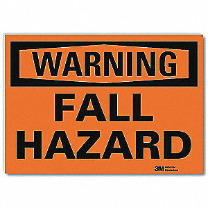 "Fall Protection, Warning, Vinyl, 5"" x 7"", Surface, Engineer"