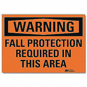 "Fall Protection, Warning, Vinyl, 7"" x 10"", Surface, Engineer"