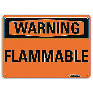 Warning Sign,Flammable,Black/Orange,7inH