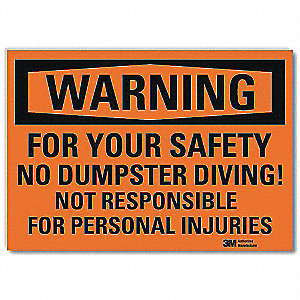 "Facility, Warning, Vinyl, 5"" x 7"", Adhesive Surface, Engineer"