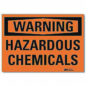 "Chemical, Gas or Hazardous Materials, Warning, Vinyl, 5"" x 7"", Adhesive Surface, Engineer"
