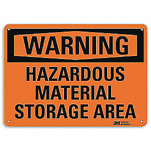 Warning Sign,Storage Area,Surface,10in H