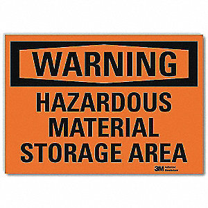 Warning Sign,Storage Area,Surface,14in W