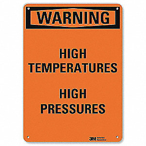 Warning Sign,High Temperatures,10 in. H