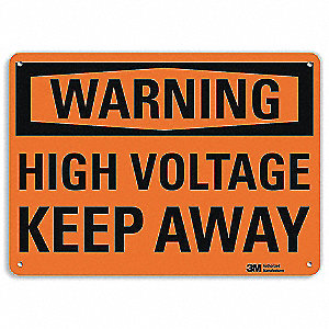 Warning Sign,High Voltage Keep Away,7inH