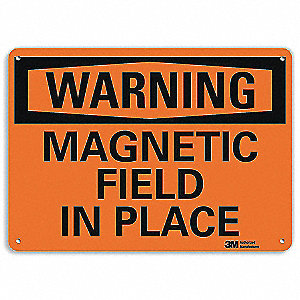 "Magnetic Hazard, Warning, Aluminum, 7"" x 10"", Surface, Engineer"