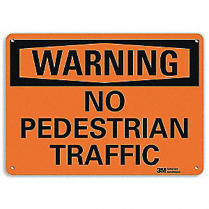"Pedestrian Traffic, Warning, Recycled Aluminum, 7"" x 10"", With Mounting Holes, Engineer"