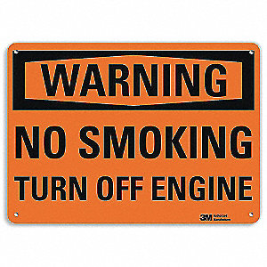 Warning No Smoking Sign,English,7 in. H
