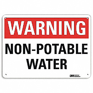 "Potable Water, Warning, Aluminum, 10"" x 14"", Surface, Engineer"