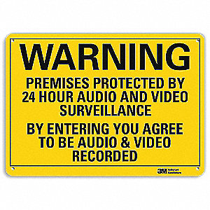 Warning Sign,Security,Black/Yellow,10inH